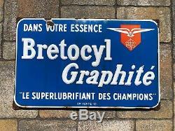 Plaque émaille Bretocyl Graphité'60 Bret-Oil Huile Moteur Bidon Essence Bretoil