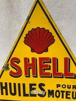 Plaque émaillé SHELL 1930 Email Japy Neuhaus Paris Rare Modele Huile Oil bidon