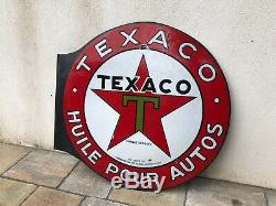 Plaque émaille Texaco Motor Oil Huile 1960 Tole Auto Moto Service Garage Ancien