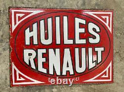 Plaque émaille double face Huile Renault Emailchild Enamel Sign