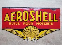 Plaque emaillee AEROSHELL! Bidon huile de garage