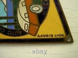 Plaque émaillée AUTO CAMPING CLUB FRANCE ACCCF Augis Lyon Vintage Caravane