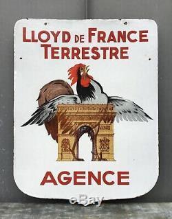 Plaque émaillée Assurances LLOYD de France / Coq