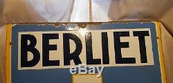 Plaque emaillee BERLIET AUTOMOBILES années 1930 Bel État
