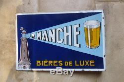 Plaque emaillee BIERE DE LA MANCHE