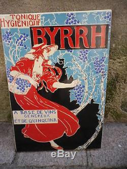 Plaque emaillée BYRRH Vin au QUINQUINA ART NOUVEAU