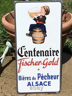 Plaque émaillée Bière Du Pêcheur EAS 1947 Alsace FISCHER GOLD grand Modèle