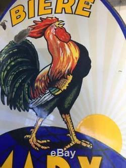 Plaque émaillée Bière Marx, Marseille, coq, bombée, émail Koekelberg