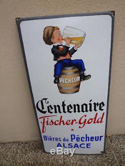Plaque émaillée Bière du pêcheur ALSACE Fischer Gold E. A. S 1950