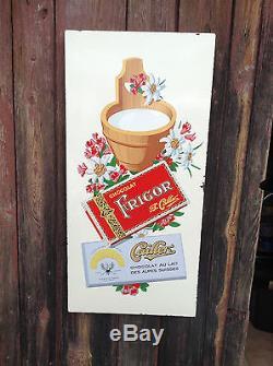 Plaque emaillee CHOCOLAT FRIGOR CHOCOLAT CAILLER SUISSE bon etat