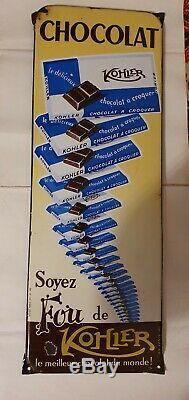 Plaque émaillée CHOCOLAT KOHLER 17,5CMX47,5CM EMAILLERIE ALSACIENNE STRASBOURG