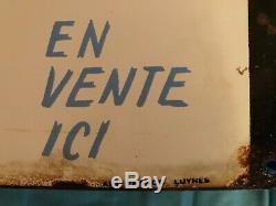 Plaque émaillée DOUBLE FACE BECASSINE Laines publicité LUYNES