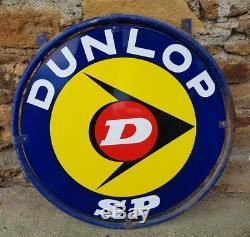 Plaque émaillée Dunlop avec cerclage support d'origine déco loft dedign