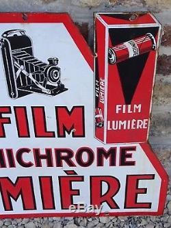 Plaque emaillée FILM LUMICHROME LUMIERE old advertise enamel appareil photo