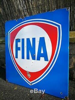 Plaque émaillée FINA de station service