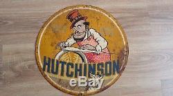 Plaque émaillée HUTCHINSON diamètre 39, 5 cm an 1950 rare