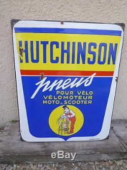 Plaque émaillée HUTCHINSON par Mich émaillerie Alsacienne de Strasbourg 1955