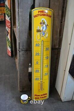 Plaque émaillée HUTCHINSON thermomètre 65 cm enamel sign