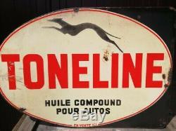 Plaque émaillée Huile TONELINE 1930