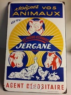 Plaque émaillée JERGANE TOURS vétérinaire animaux cochon vache cheval chien coq