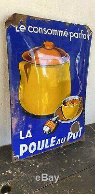 Plaque emaillee La Poule Au Pot