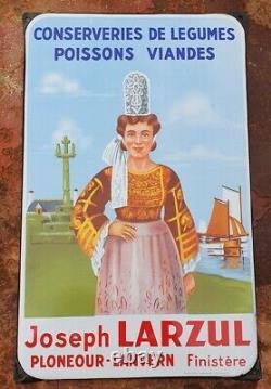 Plaque émaillée Larzul Finistère Conserverie 1958 EAS BRETAGNE pays bigouden