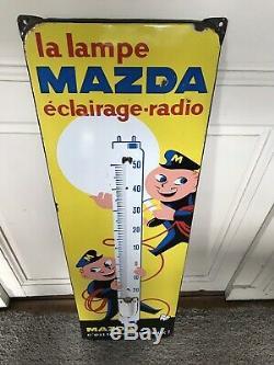 Plaque émaillée MAZDA thermomètre Émaillerie Alsacienne Strasbourg. 31 x 97 cm