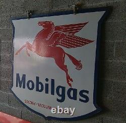 Plaque émaillée MOBILGAS Socony Vacuum Mobiloil tôle Double face Superbe 150 cm