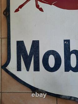Plaque émaillée MOBILOIL Pegasus Emaillerie belge 1953 80x85cm garage automobile