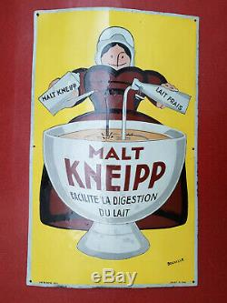 Plaque emaillée Malt Kneipp Beuville 1925 80x50cm restaurée
