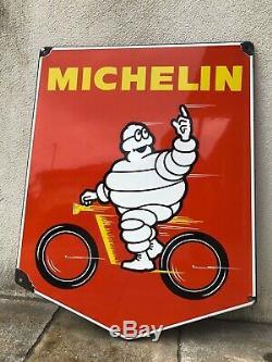 Plaque émaillée Michelin Velo rouge Bibendum Pneus Tole Ancienne Garage Auto Oil