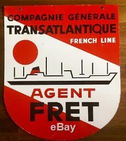 Plaque émaillée Paquebot COMPAGNIE GENERALE TRANSATLANTIQUE French Line