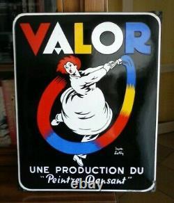Plaque émaillée Peinture VALOR signée Lotti EAS