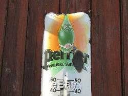 Plaque émaillée Perrier thermomètre bombée