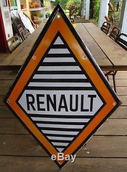 Plaque émaillée RENAULT 119 cm + verso peint
