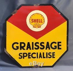 Plaque émaillée SHELL Graissage Spécialisé 1948