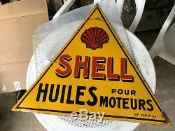 Plaque émaillée Shell Double Face 76 cm côté triangle bon état