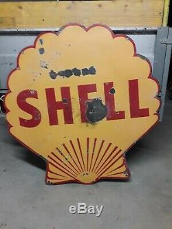 Plaque emaillee Shell double face 100cm