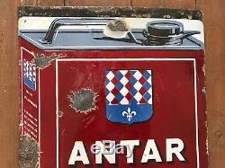Plaque émaillée ancienne 1925 ANTAR 65x45CM