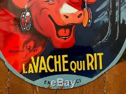 Plaque émaillée ancienne 1930 LA VACHE QUI RIT 52x49cm