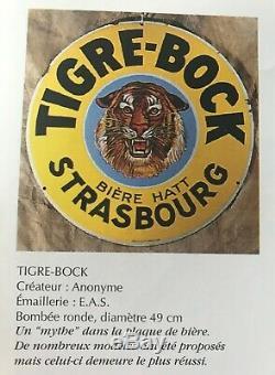 Plaque émaillée ancienne 1930 TIGRE BOCK Ø49,5cm