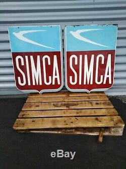 Plaque emaillee ancienne 1950 Simca