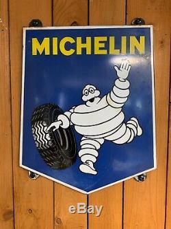 Plaque émaillée ancienne 1970 MICHELIN 45x35 Rare Petit Model