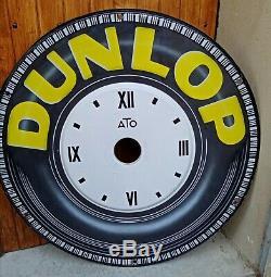 Plaque émaillée ancienne Automobile Horloge DUNLOP ATO 100 cm, 1927 / 1928