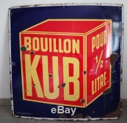 Plaque émaillée ancienne Bouillon KUB, 100 x 100 cm, ALS Strasbourg