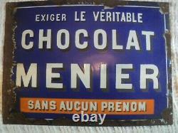 Plaque émaillée ancienne CHOCOLAT MENIER
