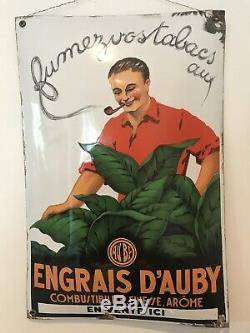Plaque emaillee ancienne Engrais Dauby Tabac