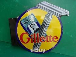 Plaque emaillee ancienne GILLETTE, double face, brillance et couleurs superbe