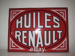 Plaque emaillee ancienne HUILES RENAULT en vente ici