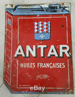 Plaque émaillée ancienne Huile Antar émaillérie Alsacienne 80x60 double face